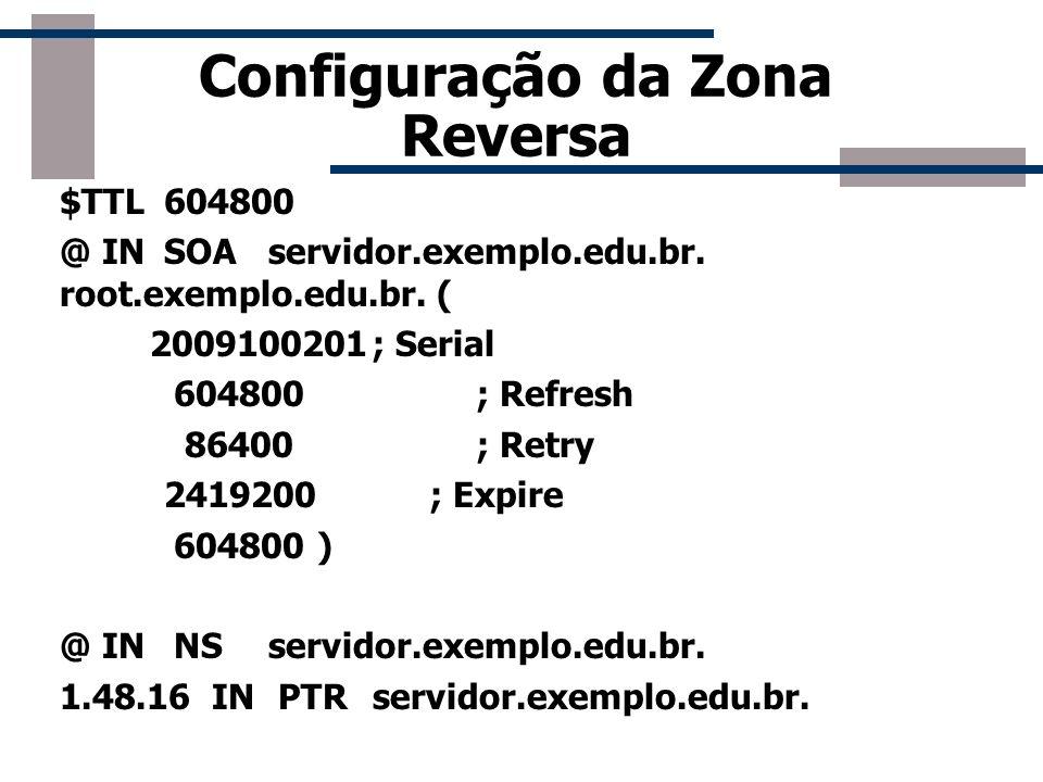 Configuração da Zona Reversa $TTL604800 @ INSOAservidor.exemplo.edu.br. root.exemplo.edu.br. ( 2009100201; Serial 604800; Refresh 86400; Retry 2419200