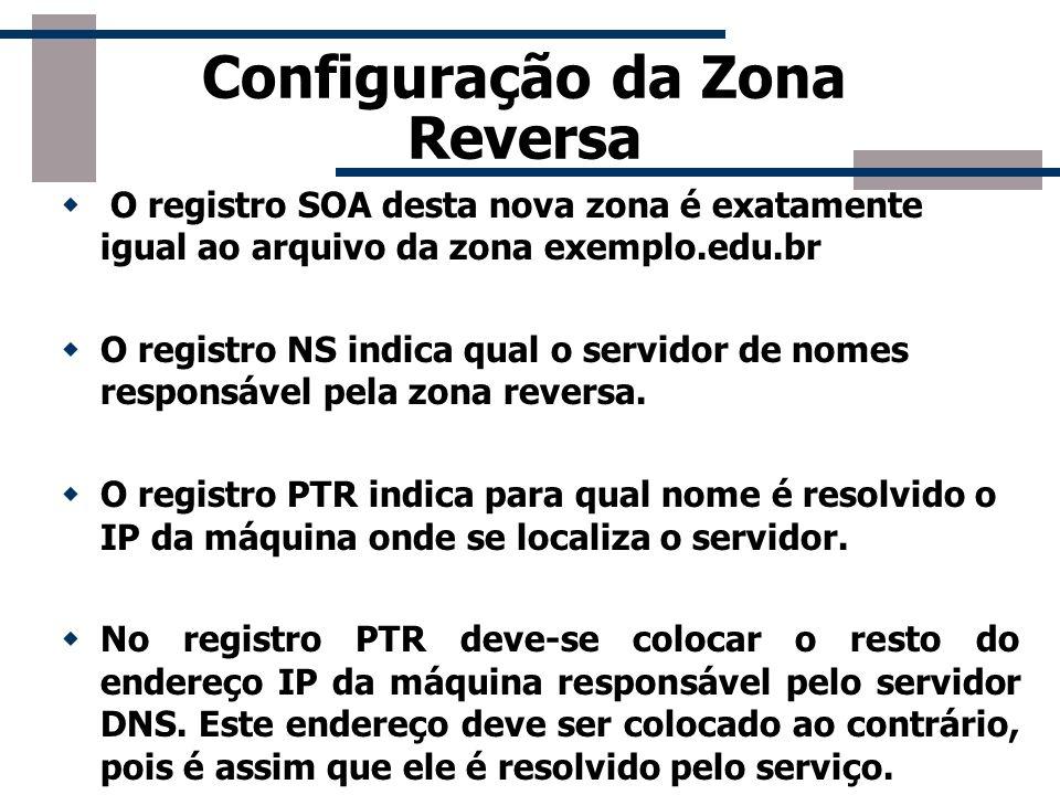 Configuração da Zona Reversa O registro SOA desta nova zona é exatamente igual ao arquivo da zona exemplo.edu.br O registro NS indica qual o servidor