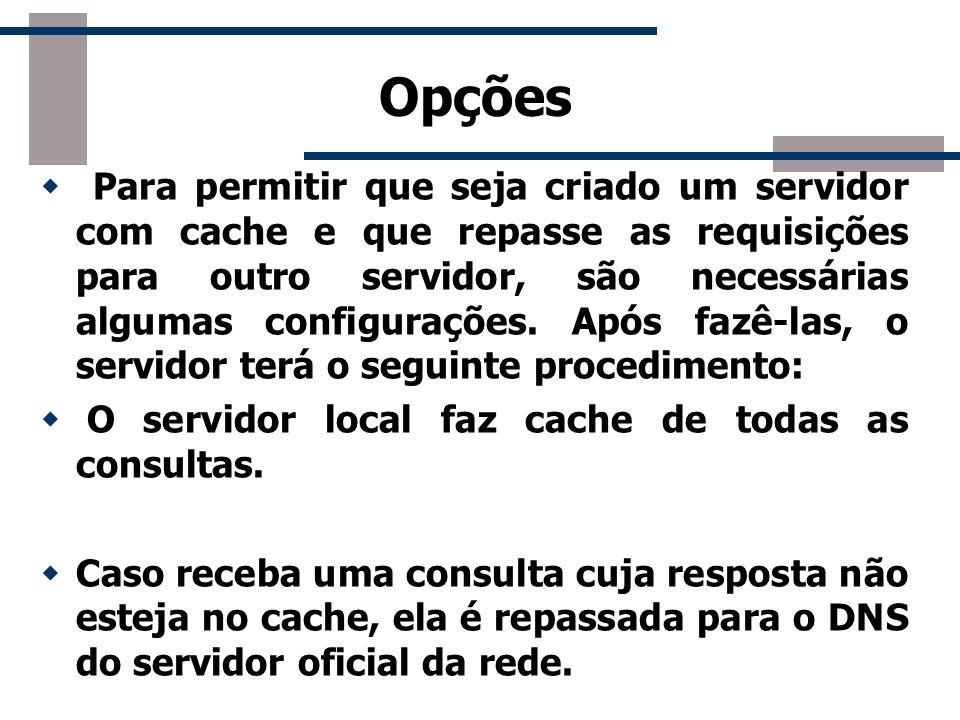 Opções Para permitir que seja criado um servidor com cache e que repasse as requisições para outro servidor, são necessárias algumas configurações. Ap