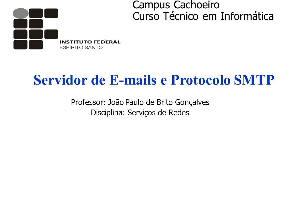 Servidor de E-mails e Protocolo SMTP Professor: João Paulo de Brito Gonçalves Disciplina: Serviços de Redes Campus Cachoeiro Curso Técnico em Informát