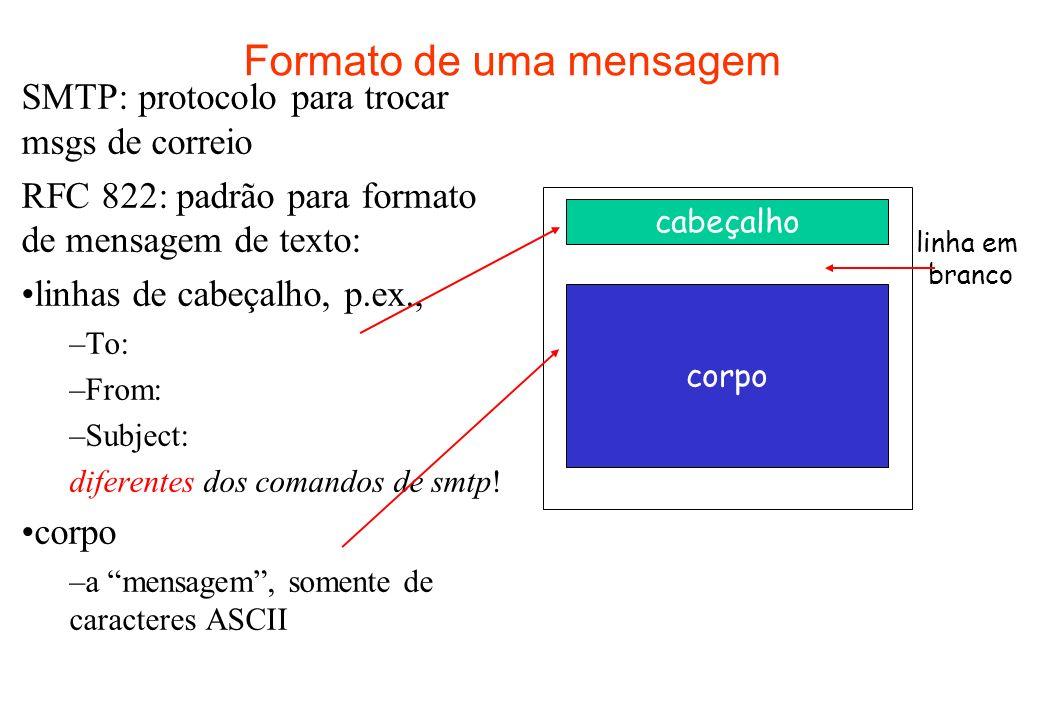 Formato de uma mensagem SMTP: protocolo para trocar msgs de correio RFC 822: padrão para formato de mensagem de texto: linhas de cabeçalho, p.ex., –To