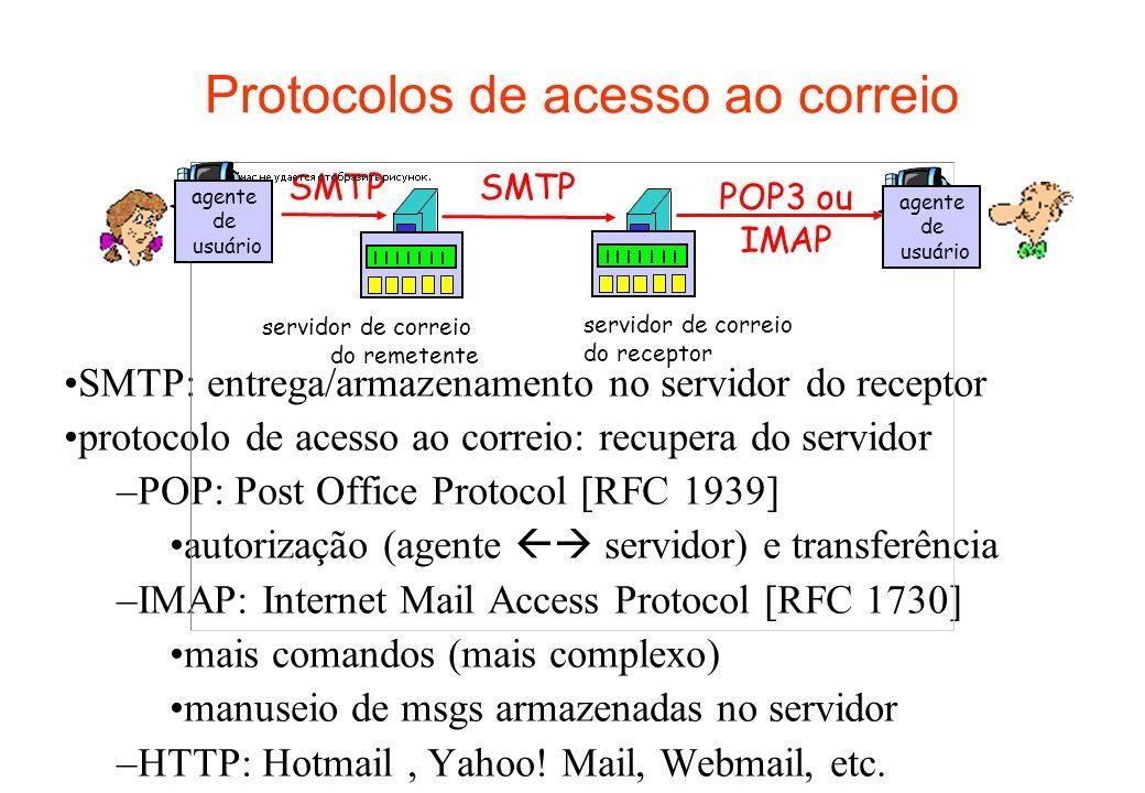 Protocolos de acesso ao correio SMTP: entrega/armazenamento no servidor do receptor protocolo de acesso ao correio: recupera do servidor –POP: Post Of