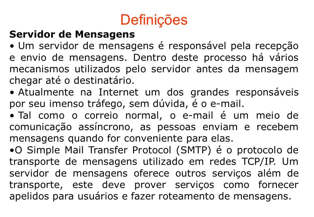 Correio Eletrônico Três grandes componentes: agentes de usuário (UA) servidores de correio simple mail transfer protocol: SMTP Agente de Usuário a.k.a.