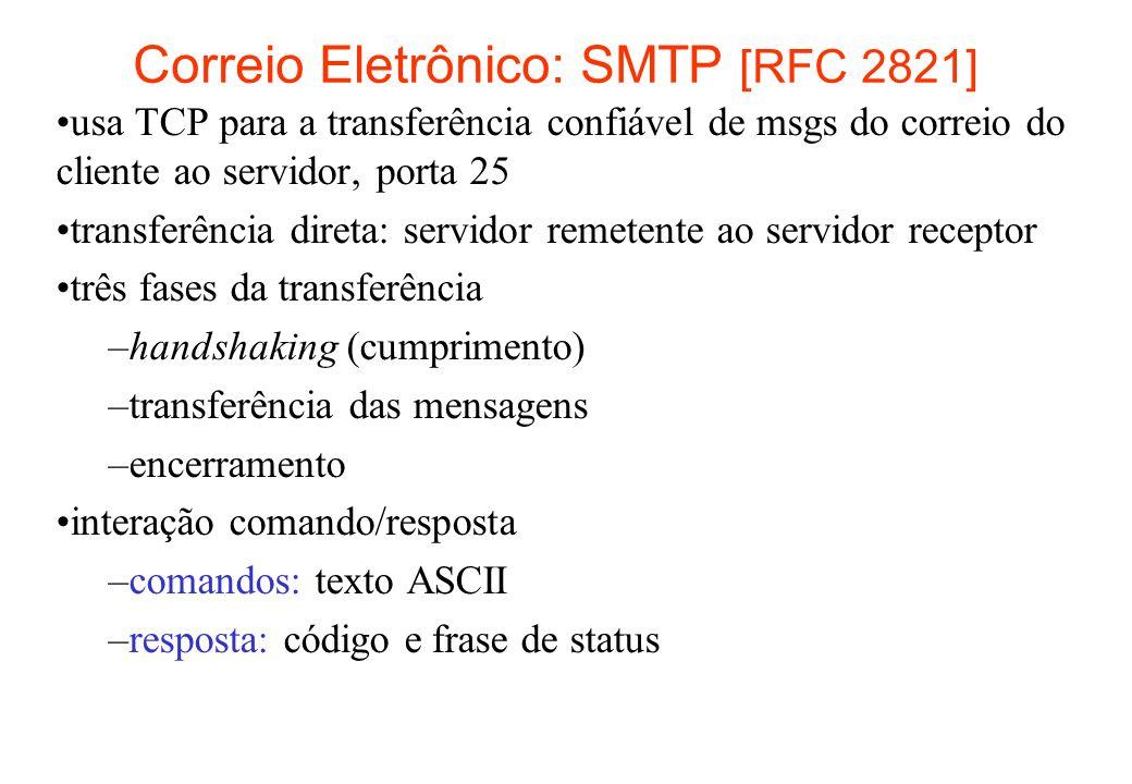 Cenário: Alice envia uma msg para Bob 1) Alice usa o UA para compor uma mensagem para bob@someschool.edu 2) O UA de Alice envia a mensagem para o seu servidor de correio; a mensagem é colocada na fila de mensagens 3) O lado cliente do SMTP abre uma conexão TCP com o servidor de correio de Bob 4) O cliente SMTP envia a mensagem de Alice através da conexão TCP 5) O servidor de correio de Bob coloca a mensagem na caixa de entrada de Bob 6) Bob chama o seu UA para ler a mensagem user agent mail server mail server user agent 1 2 3 4 5 6