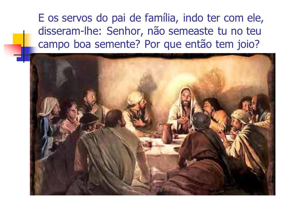 E os servos do pai de família, indo ter com ele, disseram-lhe: Senhor, não semeaste tu no teu campo boa semente? Por que então tem joio?