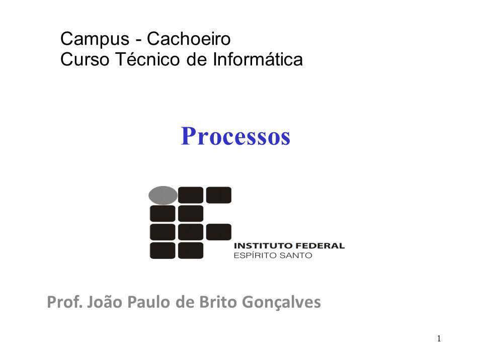 1 Processos Prof. João Paulo de Brito Gonçalves Campus - Cachoeiro Curso Técnico de Informática