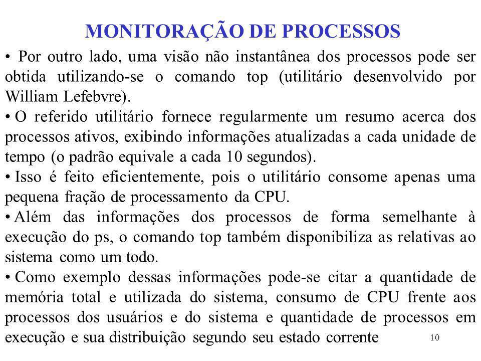 10 MONITORAÇÃO DE PROCESSOS Por outro lado, uma visão não instantânea dos processos pode ser obtida utilizando-se o comando top (utilitário desenvolvi