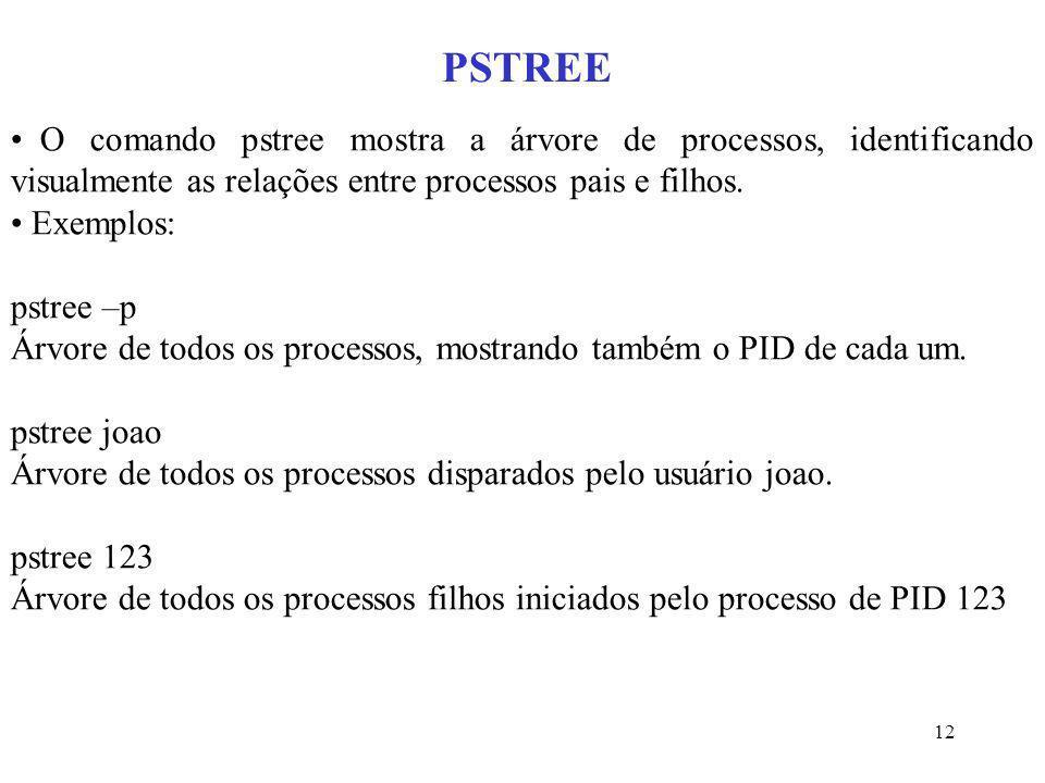12 PSTREE O comando pstree mostra a árvore de processos, identificando visualmente as relações entre processos pais e filhos. Exemplos: pstree –p Árvo