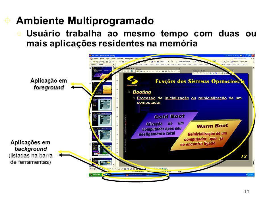 17 Usuário trabalha ao mesmo tempo com duas ou mais aplicações residentes na memória Ambiente Multiprogramado Aplicação em foreground Aplicações em ba
