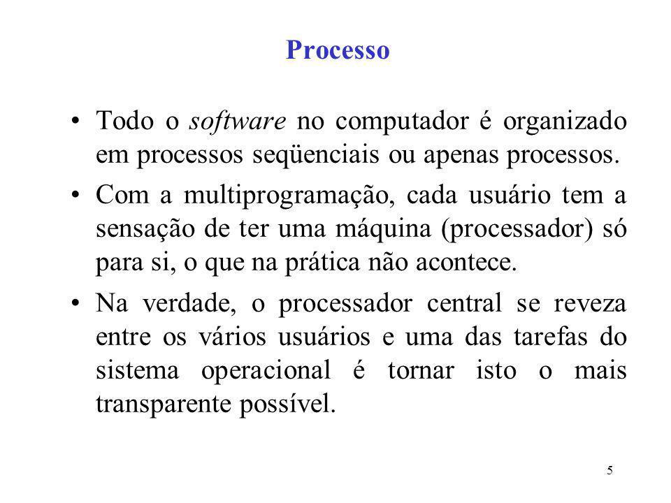 5 Processo Todo o software no computador é organizado em processos seqüenciais ou apenas processos. Com a multiprogramação, cada usuário tem a sensaçã
