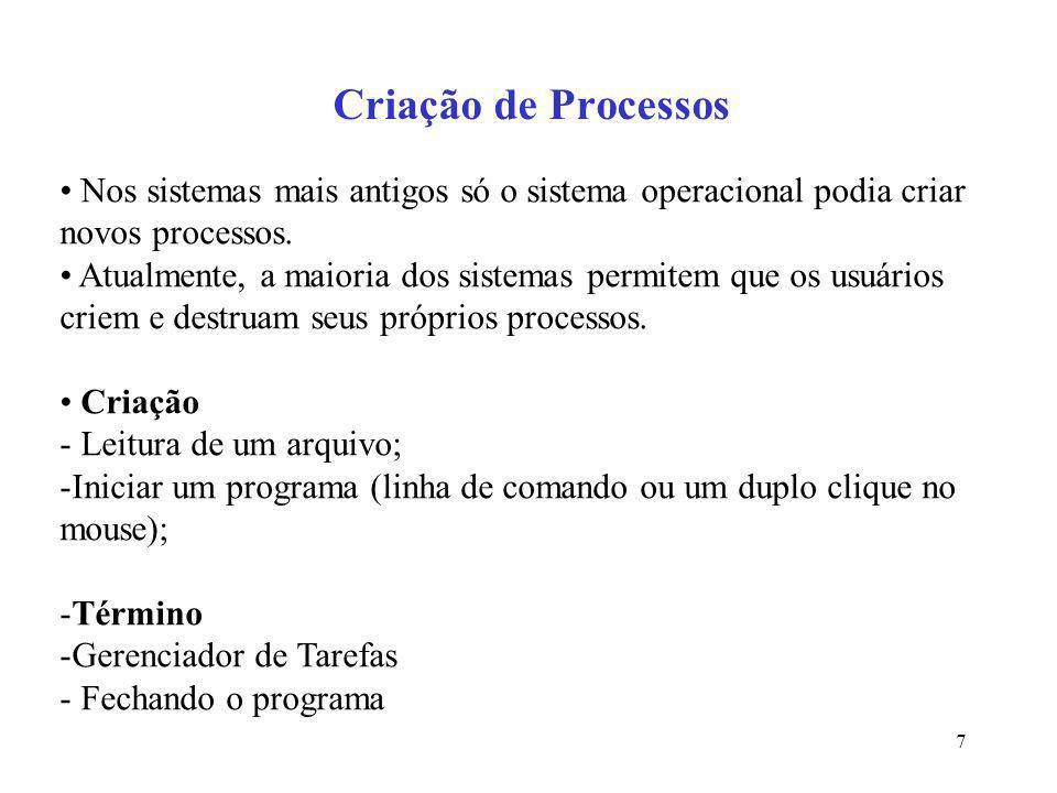 7 Criação de Processos Nos sistemas mais antigos só o sistema operacional podia criar novos processos. Atualmente, a maioria dos sistemas permitem que