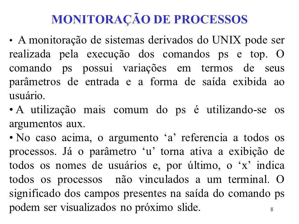 8 MONITORAÇÃO DE PROCESSOS A monitoração de sistemas derivados do UNIX pode ser realizada pela execução dos comandos ps e top. O comando ps possui var