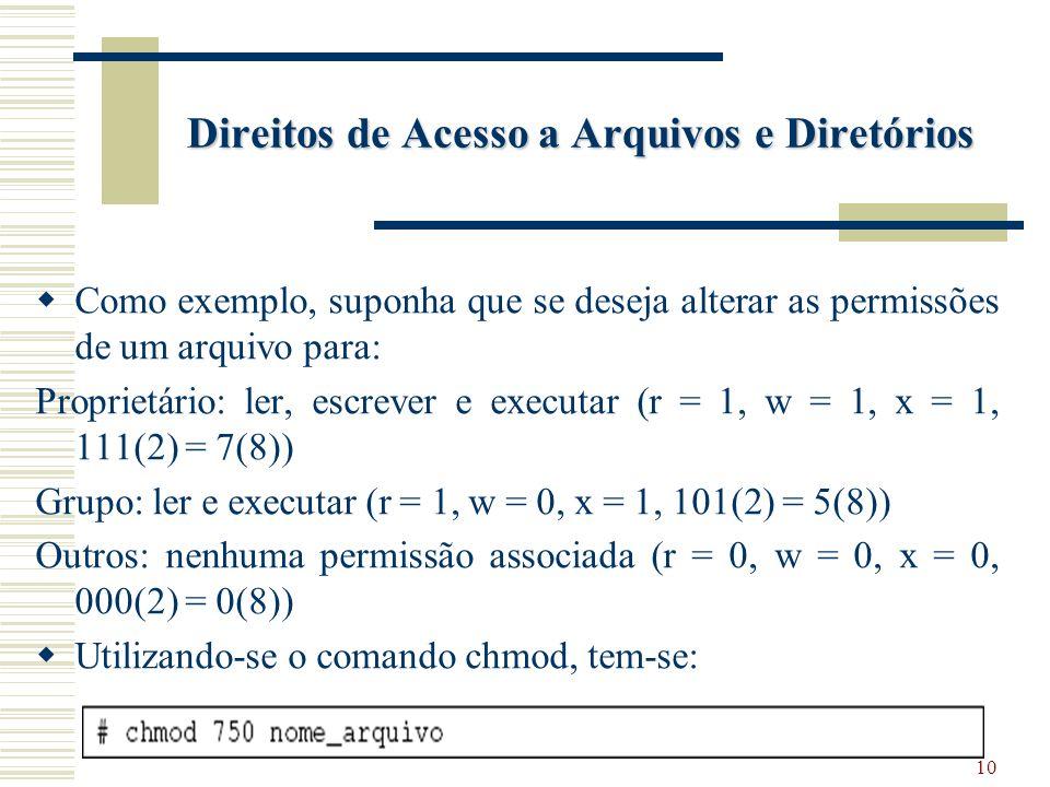 10 Direitos de Acesso a Arquivos e Diretórios Como exemplo, suponha que se deseja alterar as permissões de um arquivo para: Proprietário: ler, escrever e executar (r = 1, w = 1, x = 1, 111(2) = 7(8)) Grupo: ler e executar (r = 1, w = 0, x = 1, 101(2) = 5(8)) Outros: nenhuma permissão associada (r = 0, w = 0, x = 0, 000(2) = 0(8)) Utilizando-se o comando chmod, tem-se: