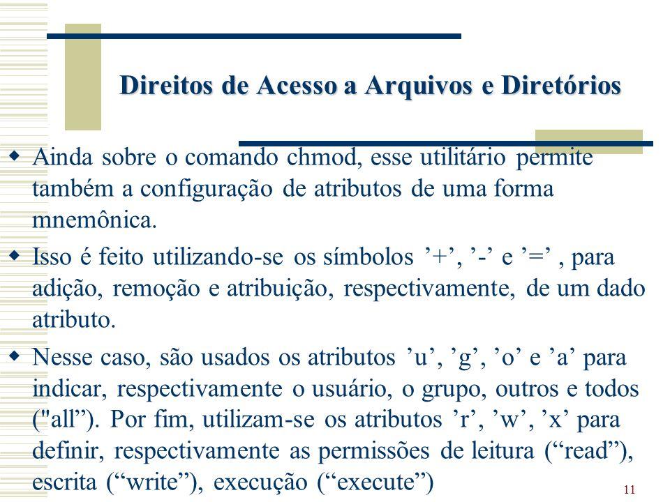 11 Direitos de Acesso a Arquivos e Diretórios Ainda sobre o comando chmod, esse utilitário permite também a configuração de atributos de uma forma mnemônica.