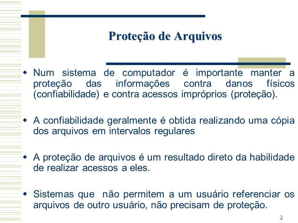 2 Proteção de Arquivos Num sistema de computador é importante manter a proteção das informações contra danos físicos (confiabilidade) e contra acessos impróprios (proteção).