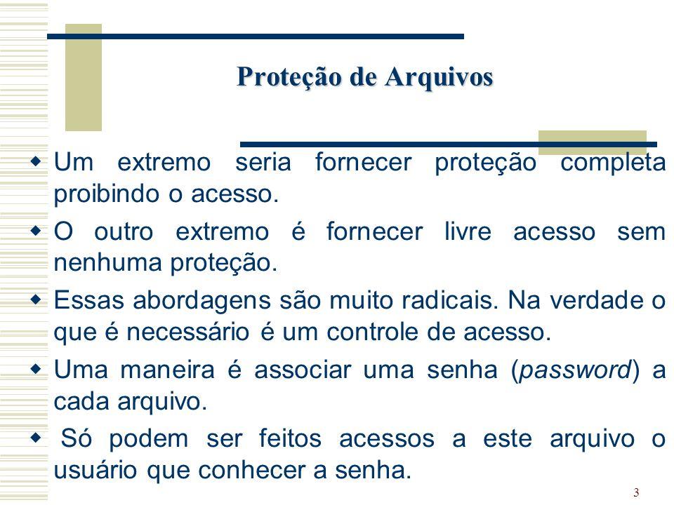 3 Proteção de Arquivos Um extremo seria fornecer proteção completa proibindo o acesso.