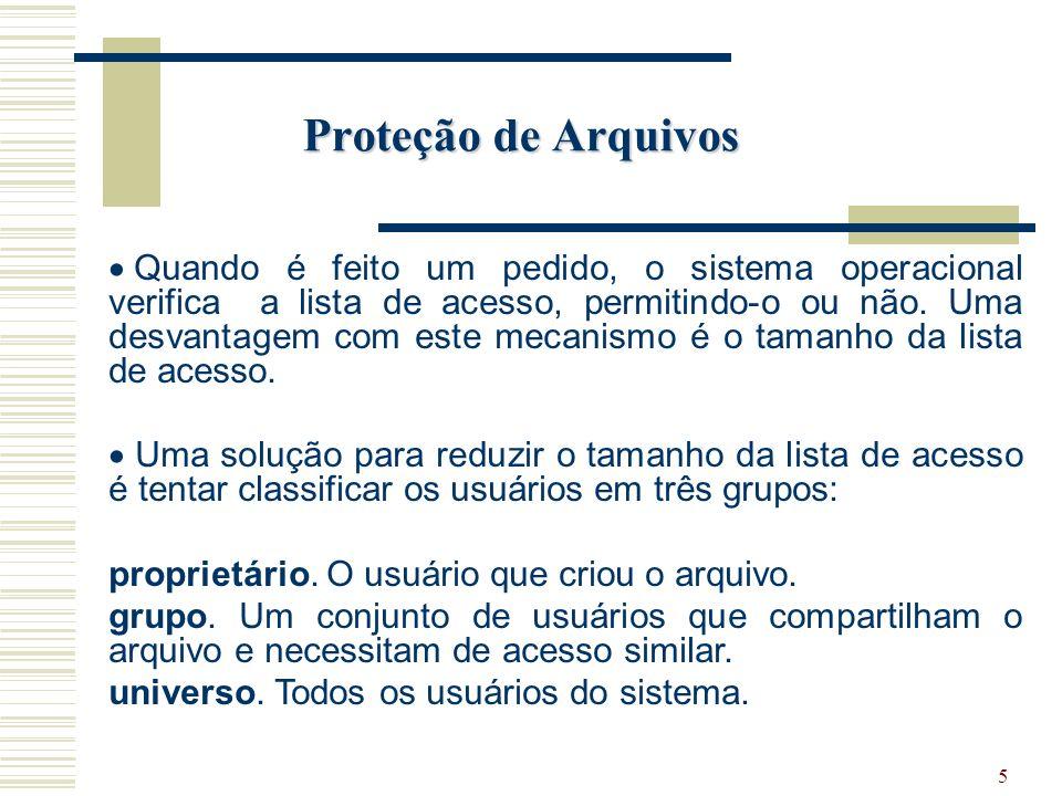 5 Proteção de Arquivos Quando é feito um pedido, o sistema operacional verifica a lista de acesso, permitindo-o ou não.
