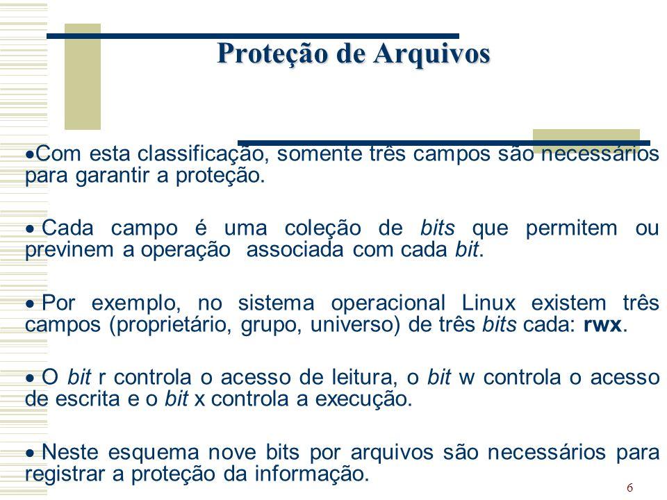 6 Proteção de Arquivos Com esta classificação, somente três campos são necessários para garantir a proteção.