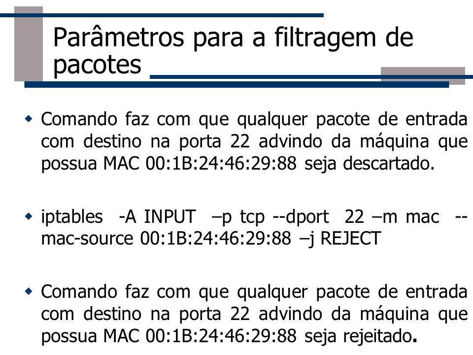 Parâmetros para a filtragem de pacotes Comando faz com que qualquer pacote de entrada com destino na porta 22 advindo da máquina que possua MAC 00:1B: