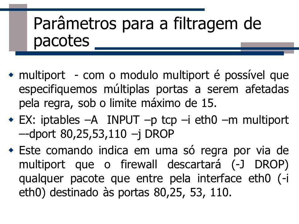 Parâmetros para a filtragem de pacotes multiport - com o modulo multiport é possível que especifiquemos múltiplas portas a serem afetadas pela regra,