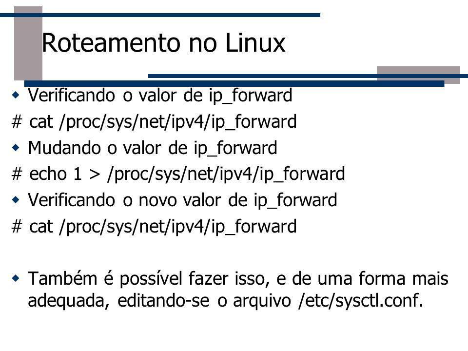 Verificando o valor de ip_forward # cat /proc/sys/net/ipv4/ip_forward Mudando o valor de ip_forward # echo 1 > /proc/sys/net/ipv4/ip_forward Verifican