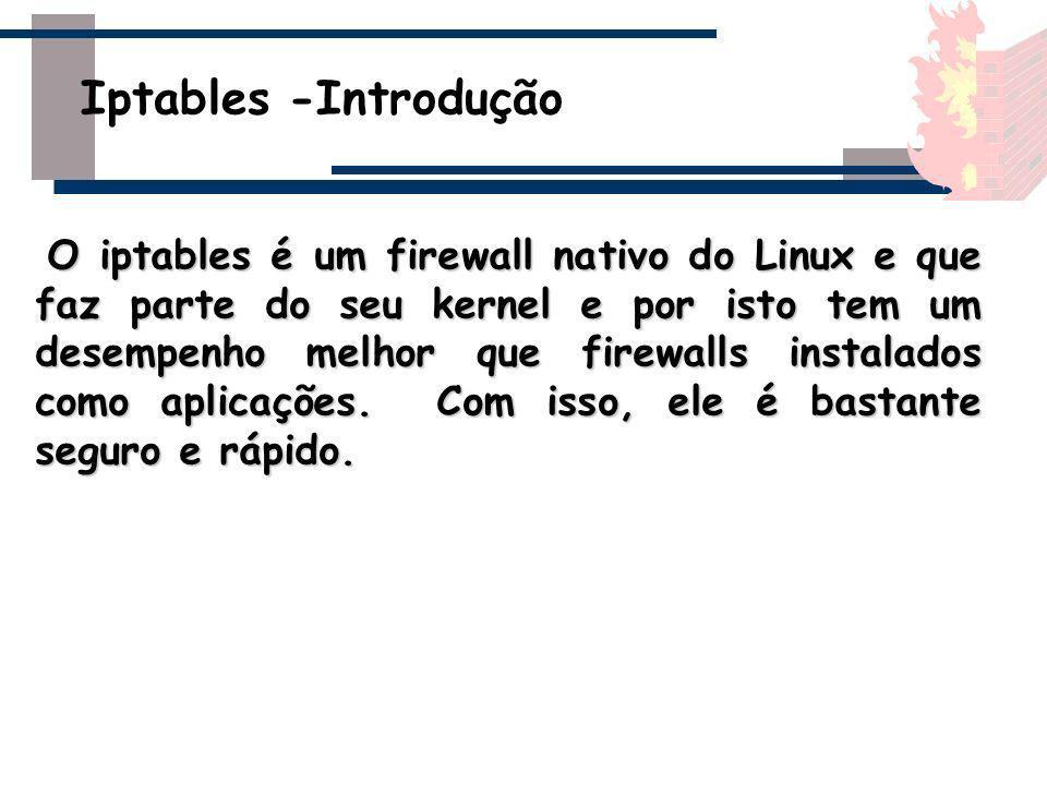 O iptables é um firewall nativo do Linux e que faz parte do seu kernel e por isto tem um desempenho melhor que firewalls instalados como aplicações. C