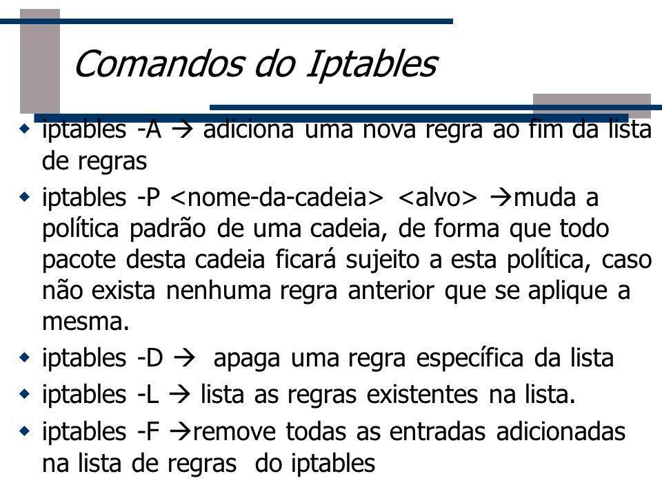 Roteador Comandos do Iptables iptables -A adiciona uma nova regra ao fim da lista de regras iptables -P muda a política padrão de uma cadeia, de forma