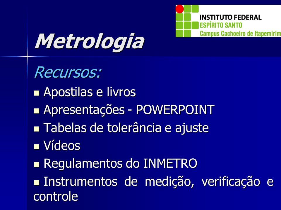 Metrologia Recursos: Apostilas e livros Apostilas e livros Apresentações - POWERPOINT Apresentações - POWERPOINT Tabelas de tolerância e ajuste Tabela