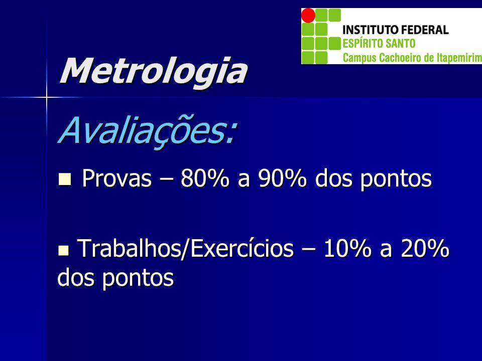 Metrologia Avaliações: Provas – 80% a 90% dos pontos Provas – 80% a 90% dos pontos Trabalhos/Exercícios – 10% a 20% dos pontos Trabalhos/Exercícios –