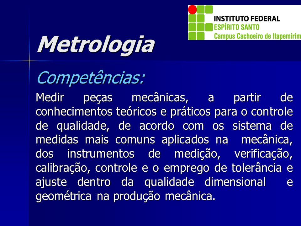 Metrologia Competências: Medir peças mecânicas, a partir de conhecimentos teóricos e práticos para o controle de qualidade, de acordo com os sistema d