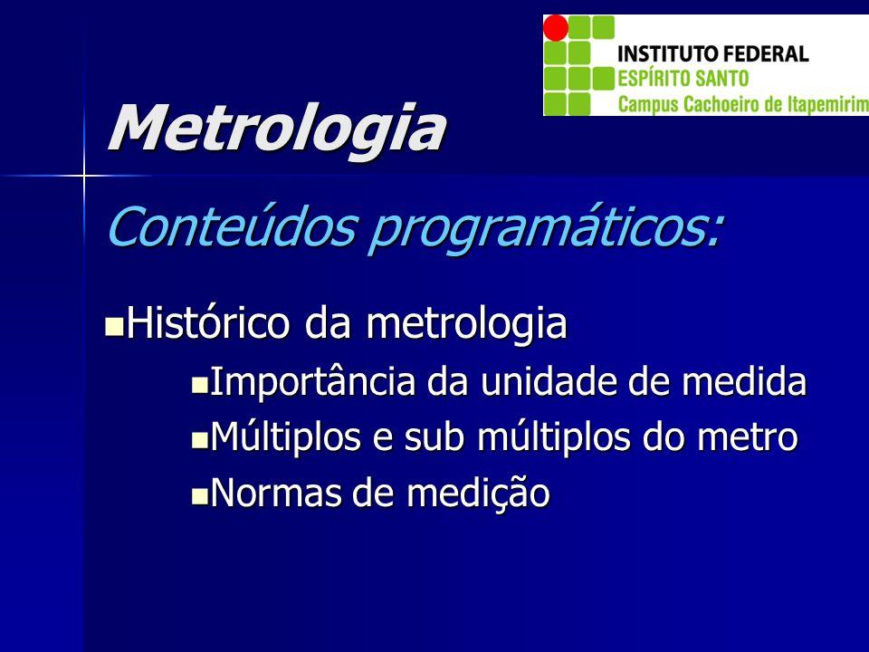 Metrologia Conteúdos programáticos: Histórico da metrologia Histórico da metrologia Importância da unidade de medida Importância da unidade de medida