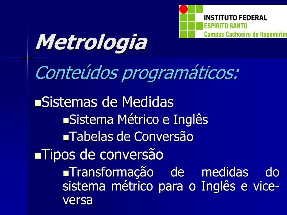 Metrologia Conteúdos programáticos: Sistemas de Medidas Sistemas de Medidas Sistema Métrico e Inglês Sistema Métrico e Inglês Tabelas de Conversão Tab