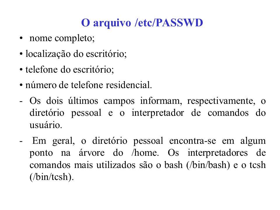 O arquivo /etc/PASSWD nome completo; localização do escritório; telefone do escritório; número de telefone residencial. -Os dois últimos campos inform
