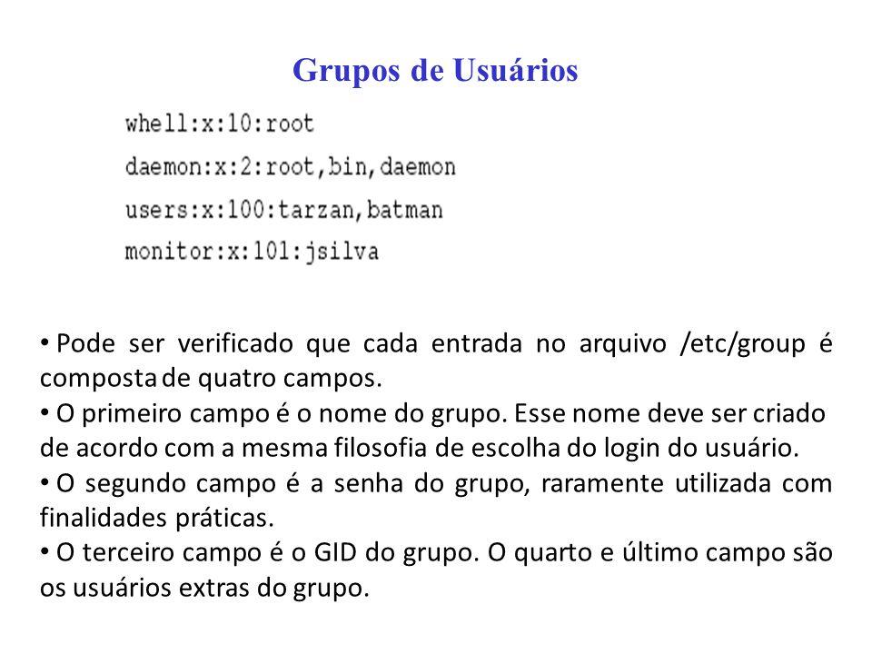 Pode ser verificado que cada entrada no arquivo /etc/group é composta de quatro campos. O primeiro campo é o nome do grupo. Esse nome deve ser criado
