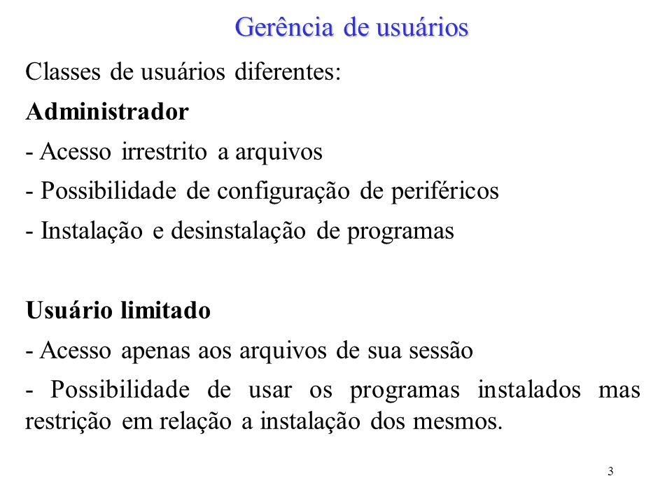 3 Gerência de usuários Classes de usuários diferentes: Administrador - Acesso irrestrito a arquivos - Possibilidade de configuração de periféricos - I