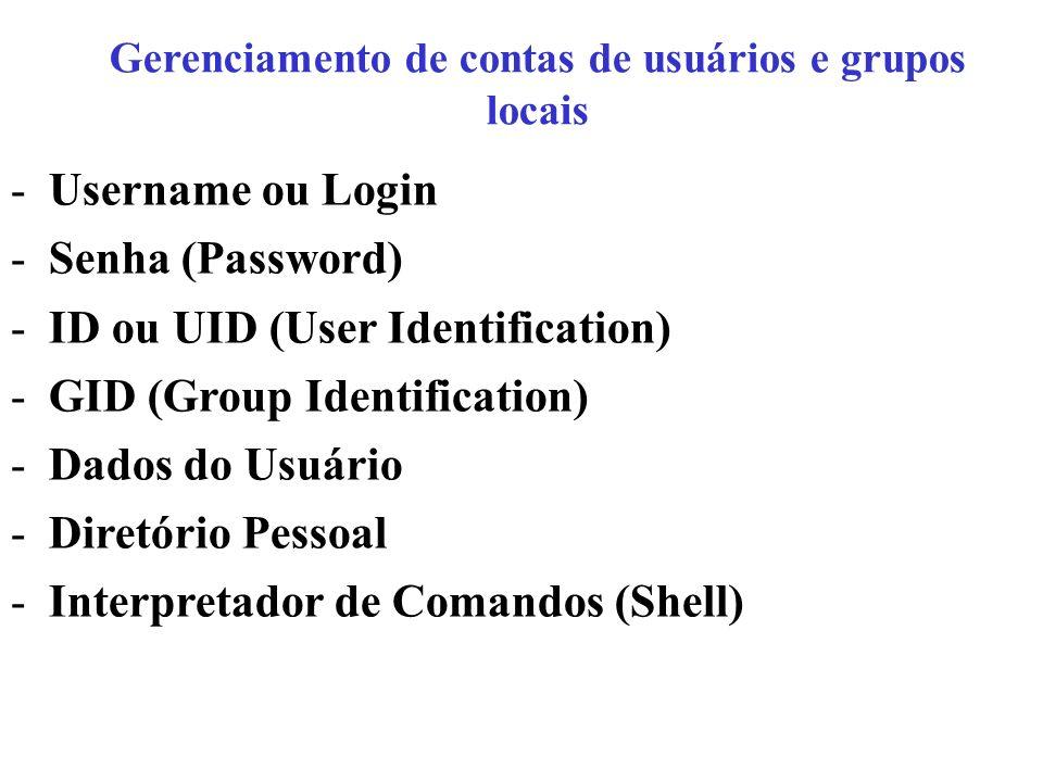 Gerenciamento de contas de usuários e grupos locais -Username ou Login -Senha (Password) -ID ou UID (User Identification) -GID (Group Identification)