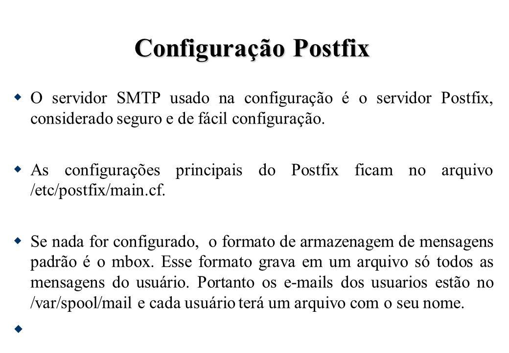 Configuração Postfix O servidor SMTP usado na configuração é o servidor Postfix, considerado seguro e de fácil configuração. As configurações principa