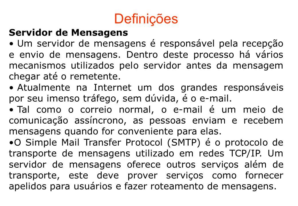Definições Servidor de Mensagens Um servidor de mensagens é responsável pela recepção e envio de mensagens. Dentro deste processo há vários mecanismos