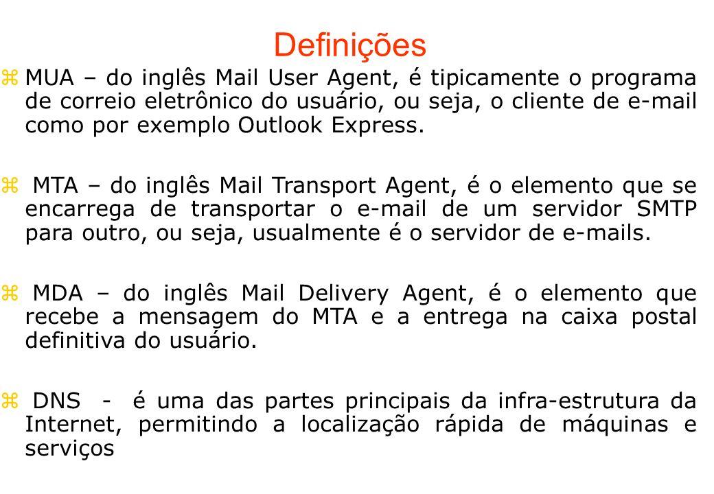 Definições MUA – do inglês Mail User Agent, é tipicamente o programa de correio eletrônico do usuário, ou seja, o cliente de e-mail como por exemplo O