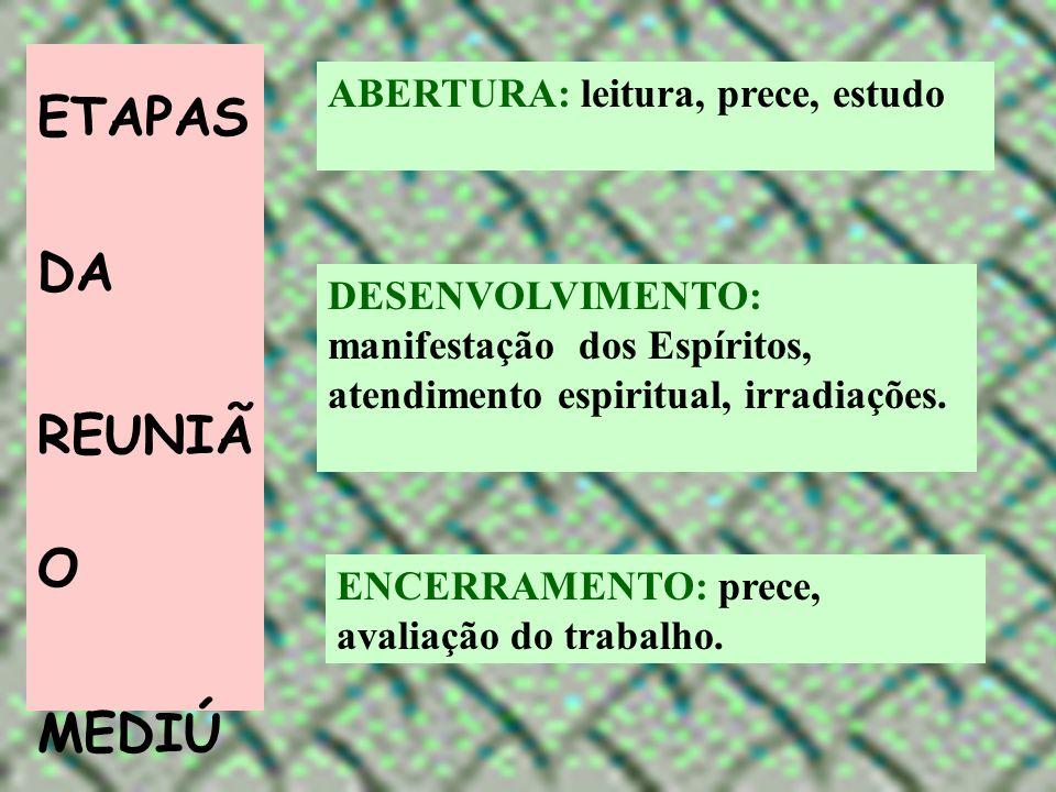 ETAPAS DA REUNIÃ O MEDIÚ NICA ABERTURA: leitura, prece, estudo DESENVOLVIMENTO: manifestação dos Espíritos, atendimento espiritual, irradiações. ENCER