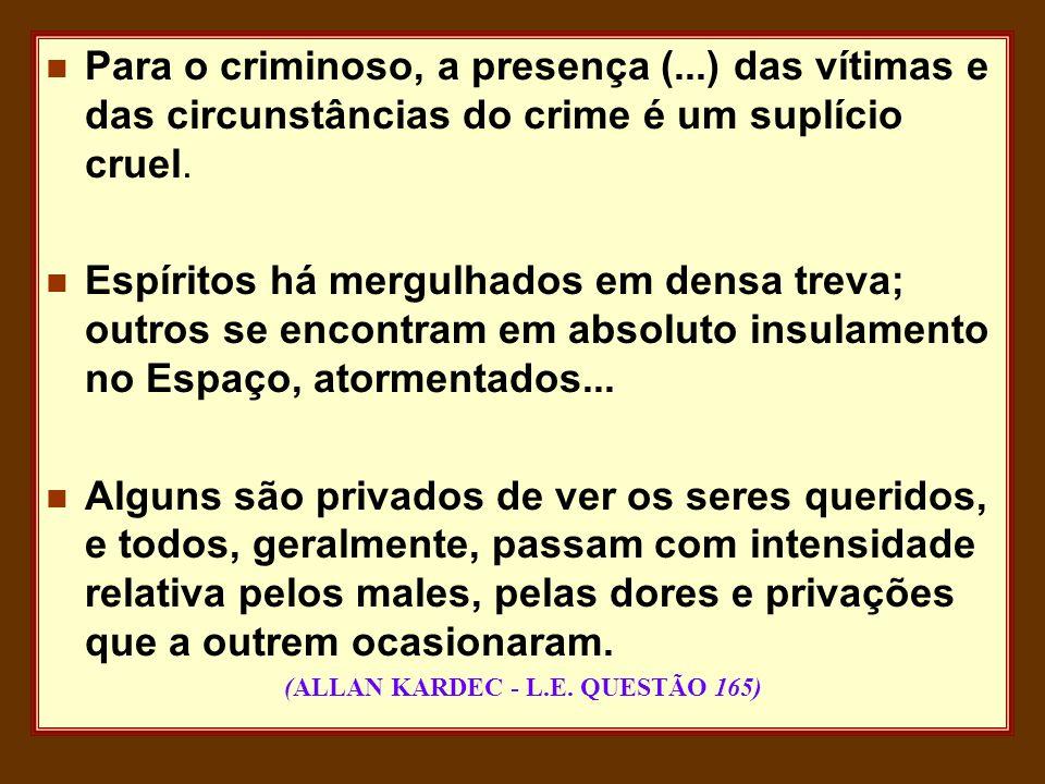 n Para o criminoso, a presença (...) das vítimas e das circunstâncias do crime é um suplício cruel. n Espíritos há mergulhados em densa treva; outros