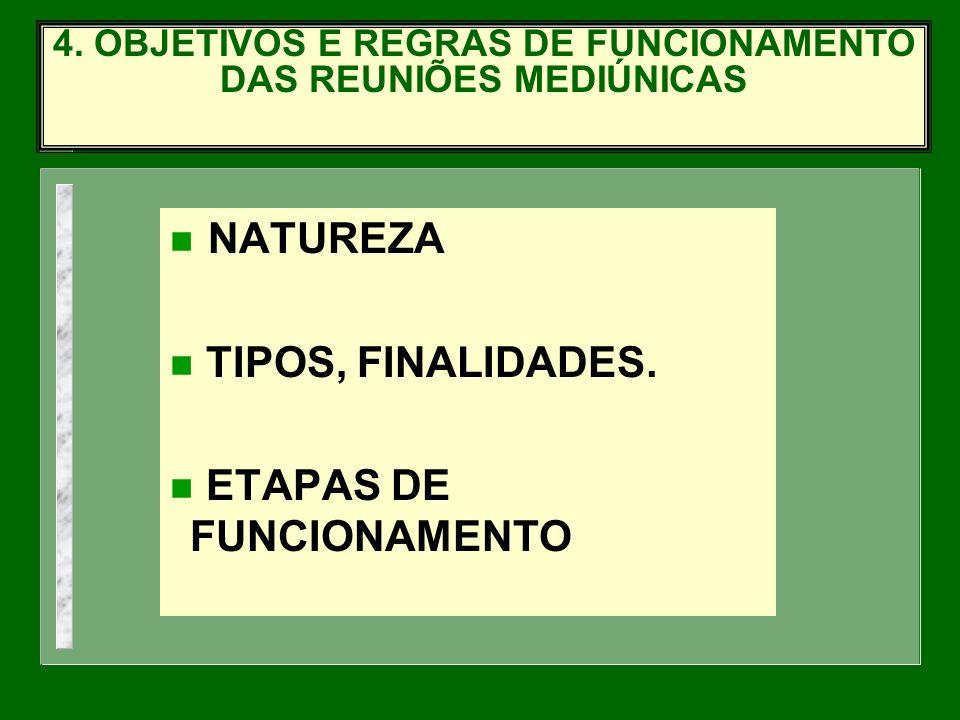 NATUREZA n TIPOS, FINALIDADES. n ETAPAS DE FUNCIONAMENTO 4. OBJETIVOS E REGRAS DE FUNCIONAMENTO DAS REUNIÕES MEDIÚNICAS