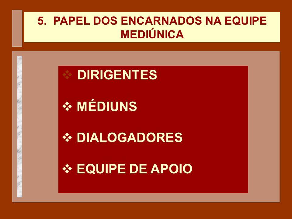 5. PAPEL DOS ENCARNADOS NA EQUIPE MEDIÚNICA DIRIGENTES v MÉDIUNS v DIALOGADORES v EQUIPE DE APOIO