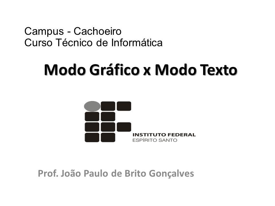 Prof. João Paulo de Brito Gonçalves Modo Gráfico x Modo Texto Campus - Cachoeiro Curso Técnico de Informática