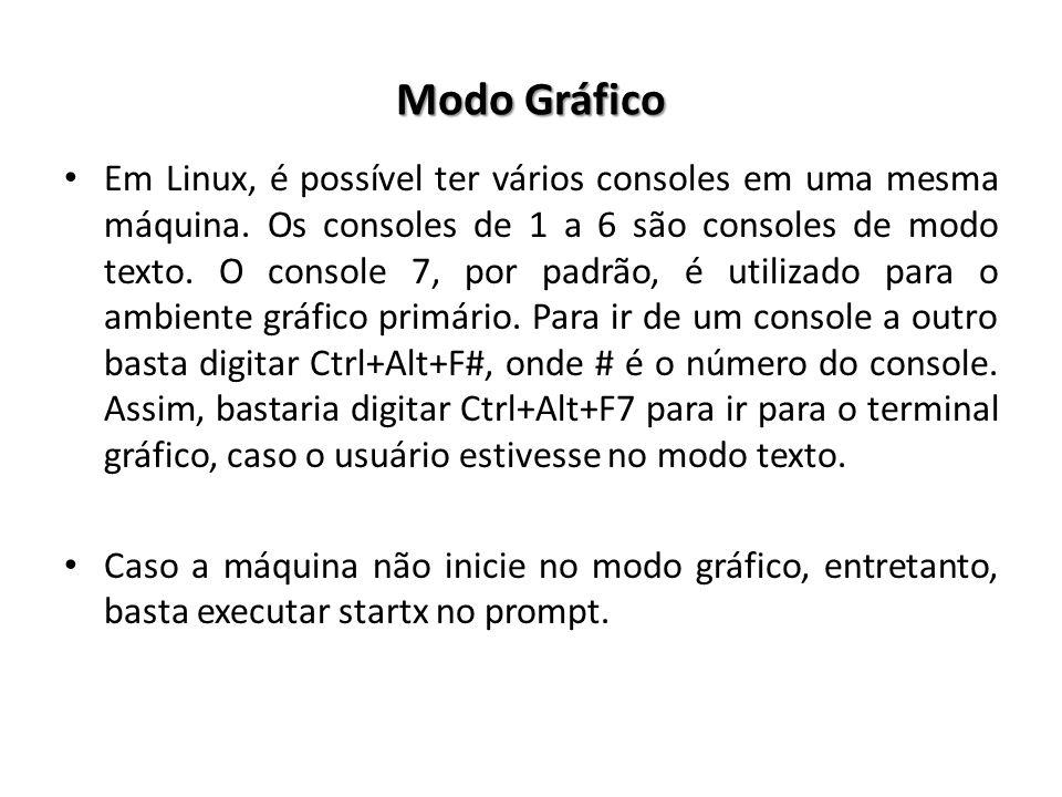 Modo Gráfico Em Linux, é possível ter vários consoles em uma mesma máquina. Os consoles de 1 a 6 são consoles de modo texto. O console 7, por padrão,
