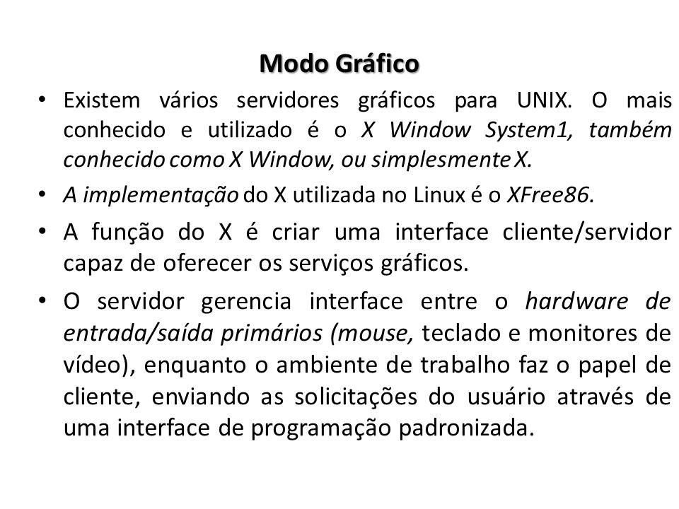 Modo Gráfico Existem vários servidores gráficos para UNIX. O mais conhecido e utilizado é o X Window System1, também conhecido como X Window, ou simpl