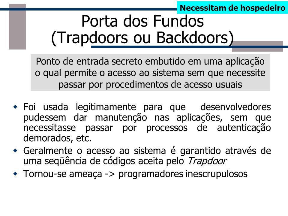 Taxonomia dos Malwares Bots Worms Aplicativos Maliciosos Necessitam Hospedeiro Independente Podem se replicar Trapdoor ou backdoor Bombas Lógicas Cava