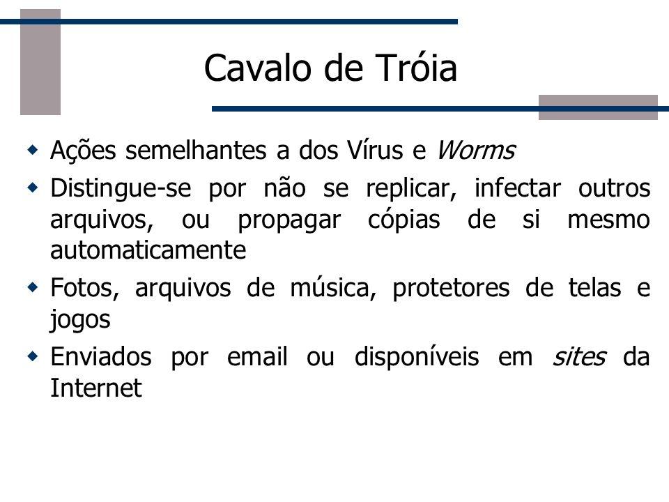 Cavalo de Tróia (trojan horse) Programa que além de executar as funções para as quais foi projetado, também executa outras funções maliciosas sem o co