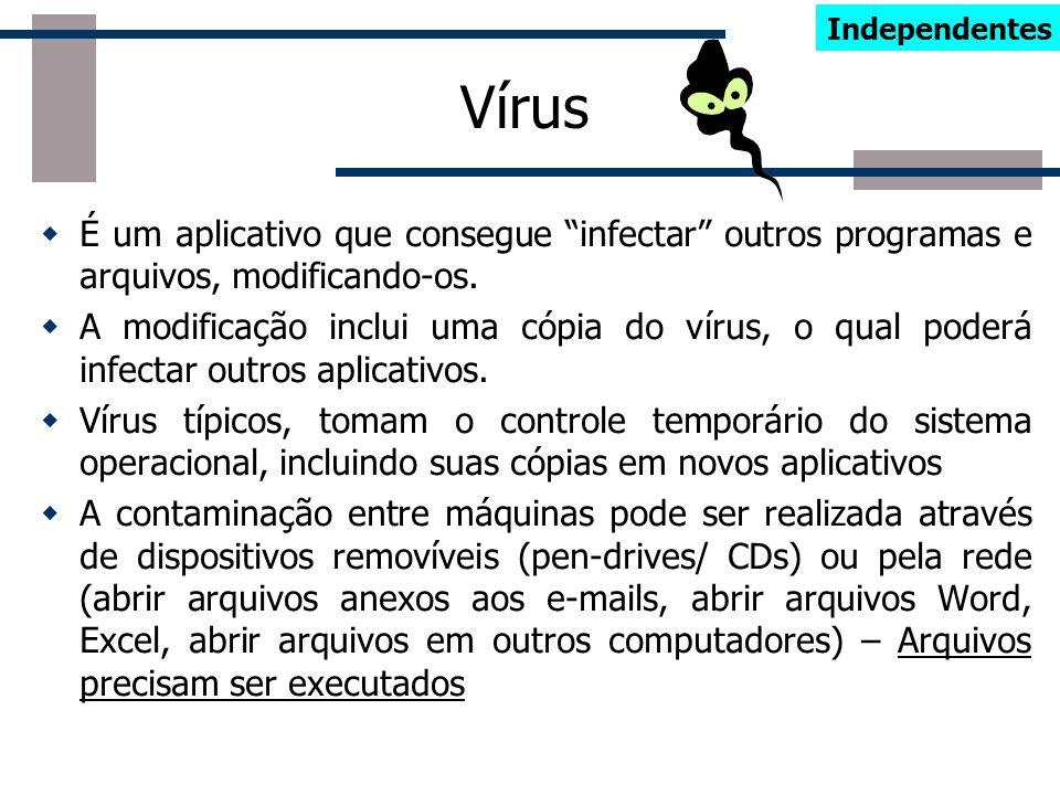 Cavalo de Tróia Ações semelhantes a dos Vírus e Worms Distingue-se por não se replicar, infectar outros arquivos, ou propagar cópias de si mesmo autom