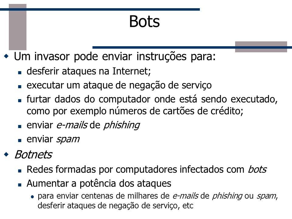Bots Similar aos Worms É capaz se propagar automaticamente, explorando vulnerabilidades existentes ou falhas na configuração Diferença: dispõe de meca